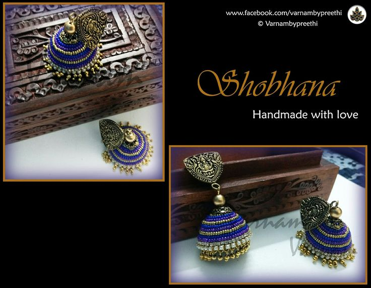 Beaded work big jhumkas with hanging ghungroos... Finishing my last post of 2016 (hopefully) in style :) Code name: Shobhana Quilled jhumkas completely adorned with seed beads :) #handmadejewelry #handmadelove #shobhana #varnambypreethi #quilling #quilledjhmkas #jhumkas #chennai #traditional #ethnic