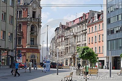 Katowice's market square dates to late 19th century. View towards the train station.