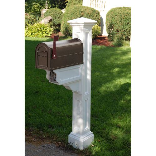 Charleston Plus White Mailbox Post Mayne Post Mailboxes Outdoor
