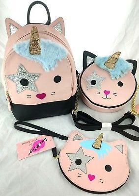 9ef5037d3744 Luv-Betsey-Johnson-Unicorn-Kitty-Cat-Mini-Backpack -Set-Wristlet-Crossbody-Kitsch