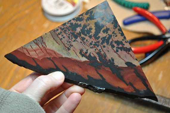Lapidary Slab of Indian Paint Picture Jasper by EvyDaywear on Etsy