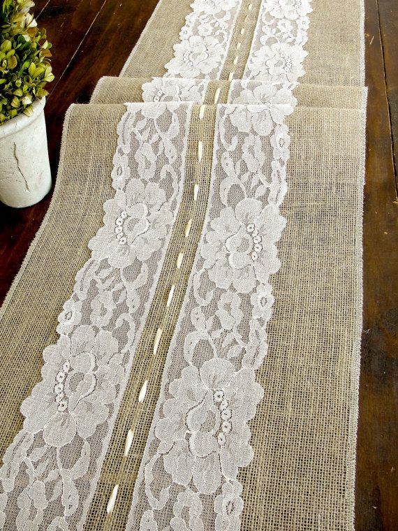 Burlap table runner with creamnude lace wedding by HotCocoaDesign