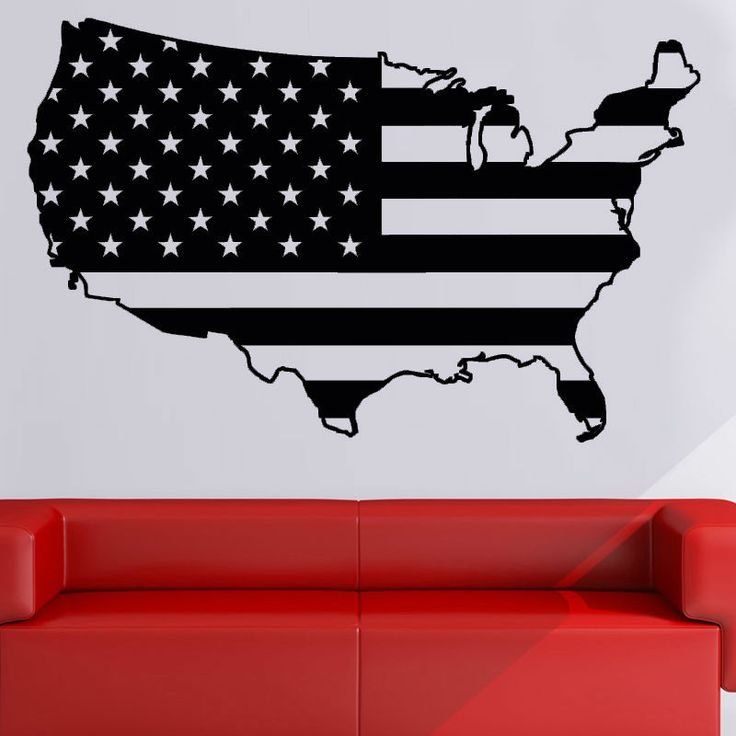 USA American Flag Vinyl Wall Decal Sticker Wall Decor 3 Sizes