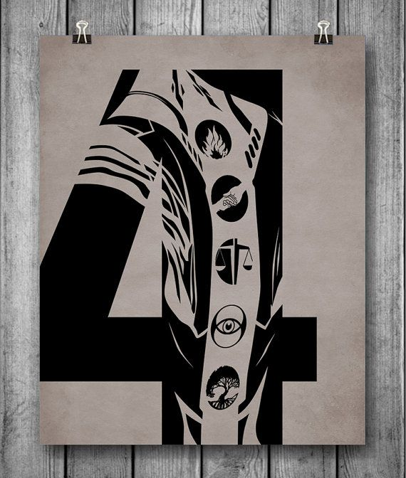 Divergent Unofficial Poster - The number FOUR etched with the faction tattoos.  8 x 10 inches These are professional quality unframed prints. Each print