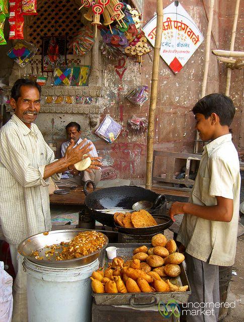 Street Food Stand at the Market in Bikaner..Kachori and Bhajji
