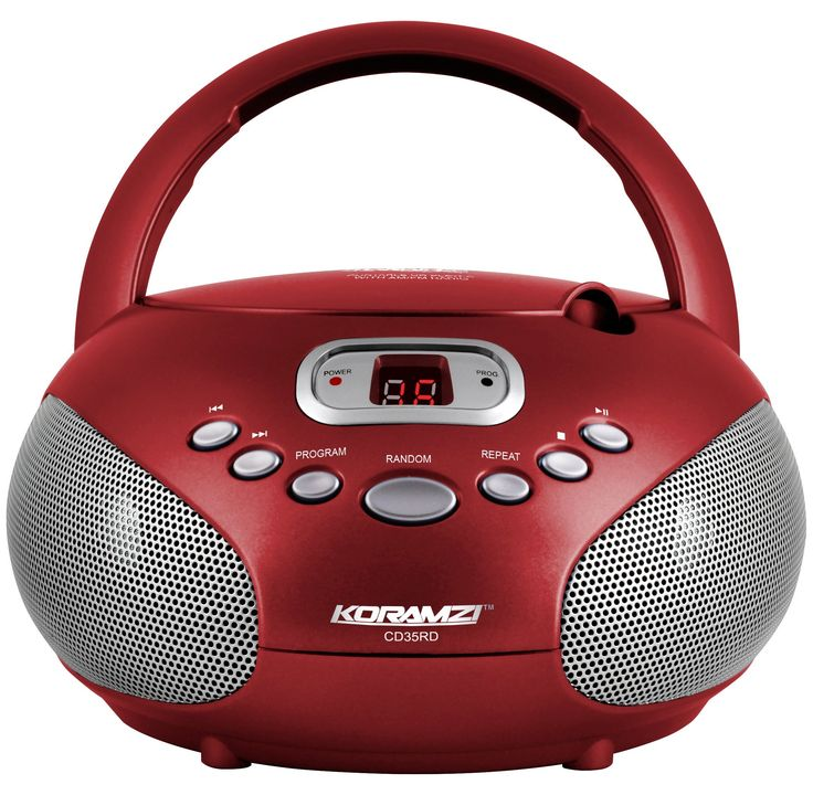 Koramzi Portable CD Boombox Sound System with Top-Loading CD Player, AM/FM Radio, and Aux Line-In- CD35(RED)