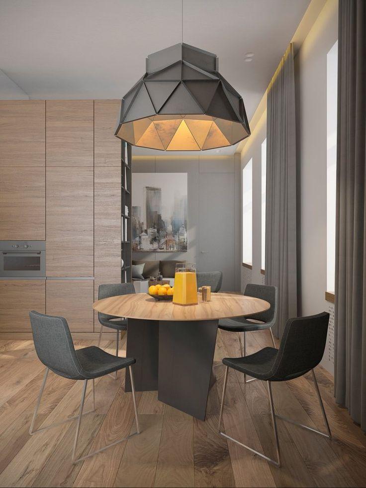 Couleur gris taupe, bois massif et déco aux accents géométriques dans trois appartements modernes !
