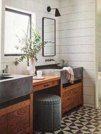 cool farmhouse bathroom remodel ideas - frugal living in