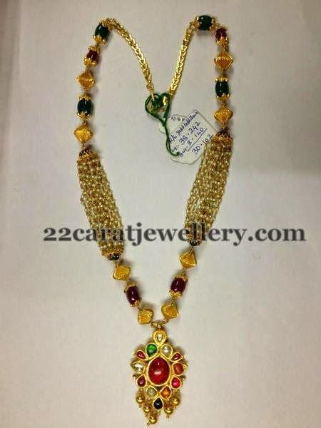 Pearls Chain with Navartna Locket   Jewellery Designs