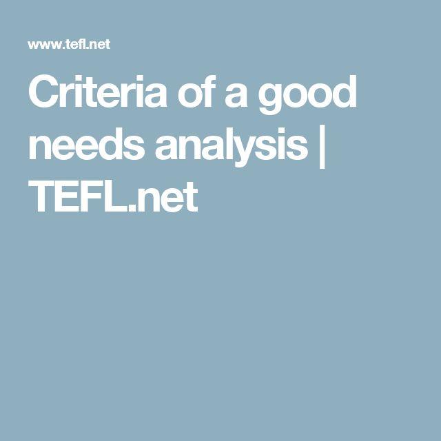 Criteria of a good needs analysis | TEFL.net