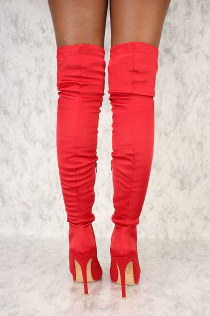 2744adde043 Red Lace Up Front Peep Toe Thigh High Boots Satin  AD