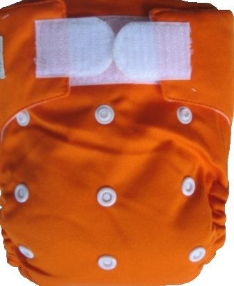 Happy Babes ORANGE One Size Nappy is a Modern Cloth Nappy (MCN) that can be worn from birth to toilet training. The One Size Nappy has plastic snaps on the front of the nappy allowing the rise of the nappy to be adjusted as your baby grows from birth to toilet training. Pocket Nappies consist of a waterproof outer which is usually a polyurethane laminated polyester and a cotton micofibre lining that is extremely soft against the baby's skin.