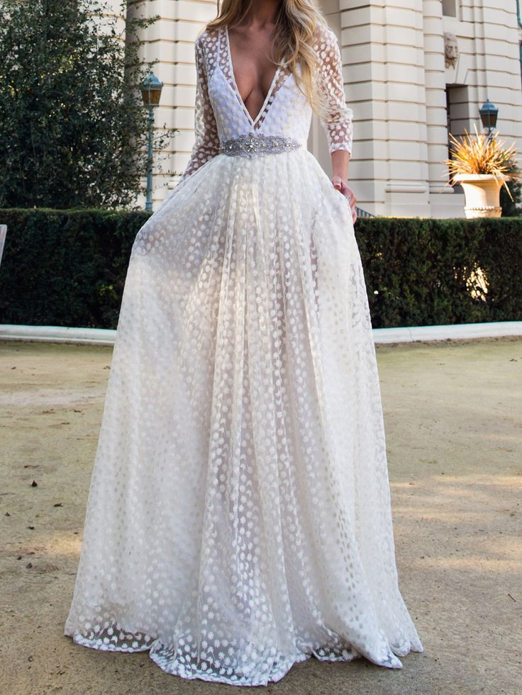 White Plunge Neck Sheer Embroidery 3/4 Sleeve Prom Dress ...