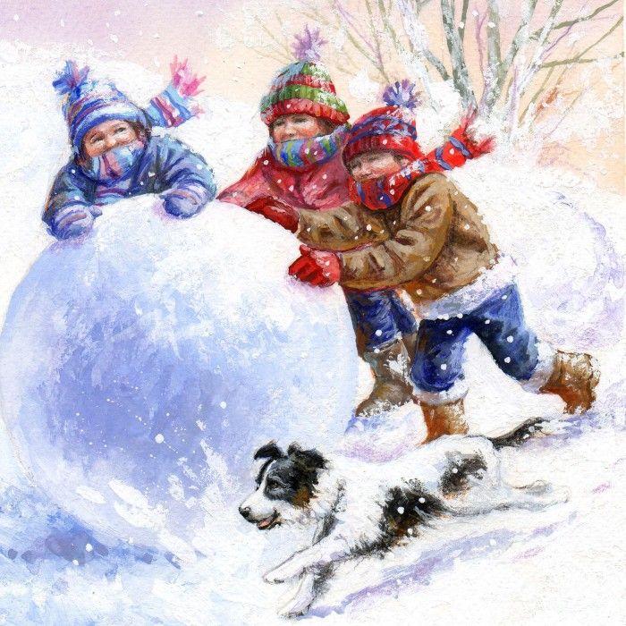 Картинка дети играют в снежки