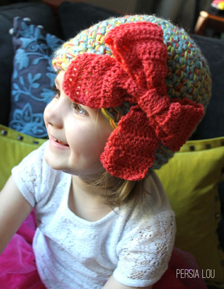 Free Crochet Hat Pattern With Bow : Pin by Lorna Wilson on Cute crochet hat patterns for kids ...