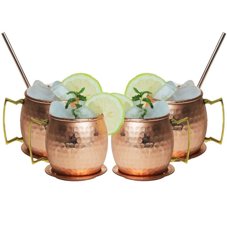 Solid Copper Mugs Handmade Hammered Set of 4 Moscow Mule Barrels With Coasters #BWEISS