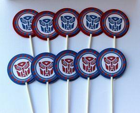 Transformadores Cupcake Toppers Optimus por PaperletteDesigns