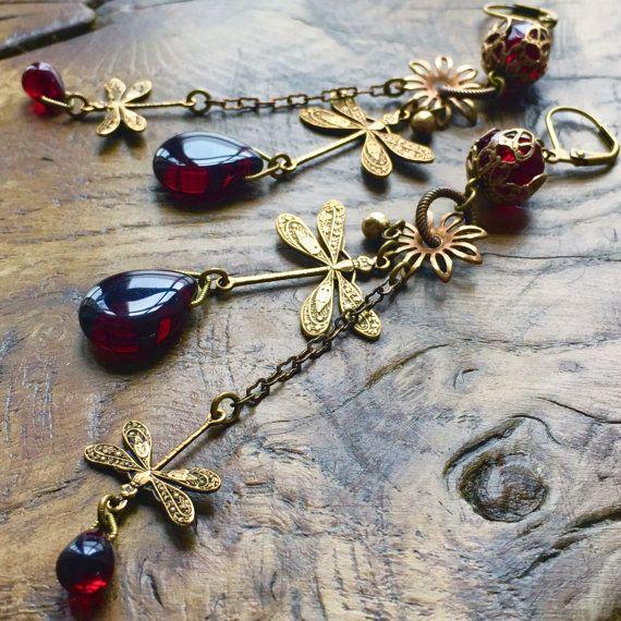 Art Nouveau Dragonfly earrings deep garnet red by lecoupdegrace