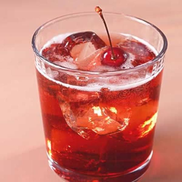 Bourbon-Cherry Seltzers  1 cup bourbon, such as Maker's Mark, or dark rum  ¾ cup packed dark brown sugar  2 cup whole fresh cherries, stems left on  16 oz (2 cups) seltzer water