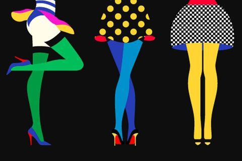 """""""Sous les jupes des filles"""" par Malika Favre. Illustration pour le blog britannique """"FormFiftyFive"""".  Très coloré, pas de cernes, seulement des aplats de couleurs."""
