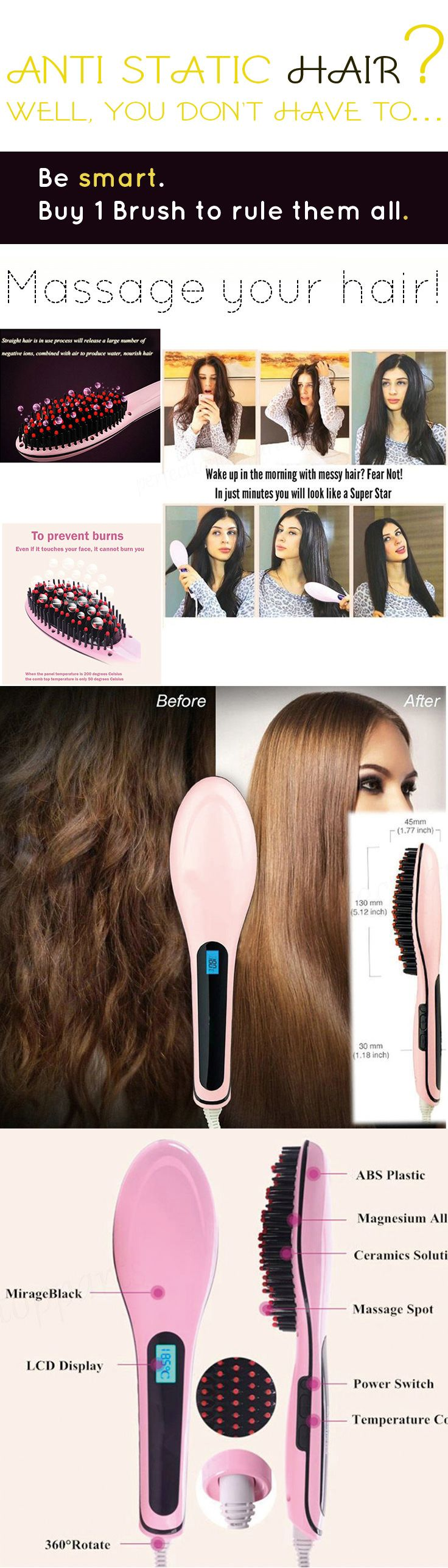 »If you thought an ionic hair brush is an old hat, check out this one. It got rave reviews and the anti static works like a charm.« #Electric #Hair #Massager #Straightener