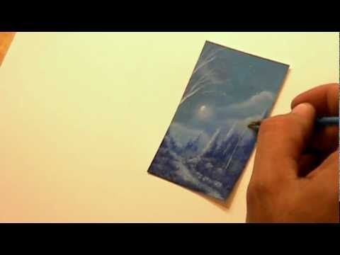 ▶ How to paint a ACEO winter forest with snow by acrylic landscape Artist Philippe Fernandez - YouTube