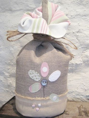 Linen Applique Flower Doorstop