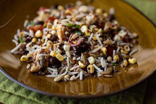 Smoky Southwestern Red Quinoa & Basmati Rice Salad with Grilled Chicken, Black Beans, Fresh Corn, Sugar Plum Tomatoes and Cilantro, with a Tangy, Honey-BBQ Vinaigrette