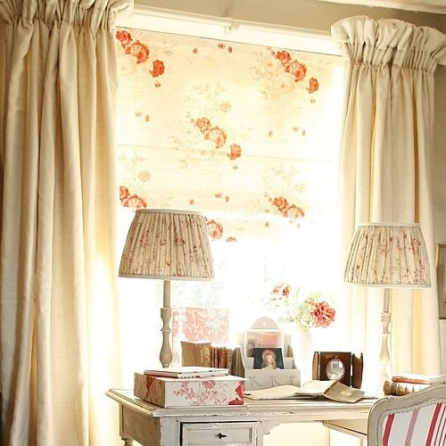 Roses Linen Fabric Cream linen with printed red roses Kate Forman Look at the top of the plain curtains!! Could I do it with my French hemp sheets?