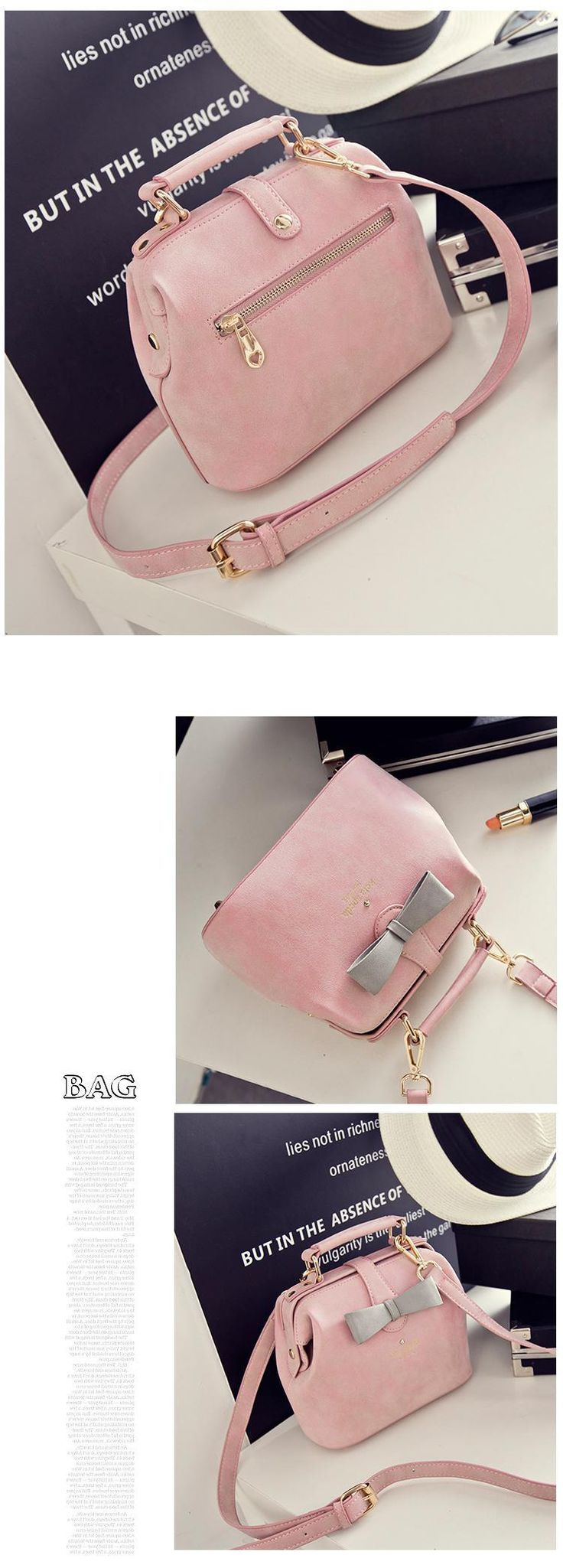 2016 New Arrival Lady Vintage Bag Handbag PU Leather Pink Cute Small Messenger Bag Female Shoulder Bag with Bow Drop Shipping-inTop-Handle Bags from Luggage & Bags on Aliexpress.com | Alibaba Group