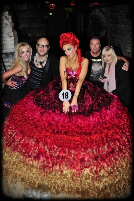 One-of-a-kind wedding dress made entirely of human hair. Designed by Thelma Madine and Ryan Edwards. Shown on odditycentral.com