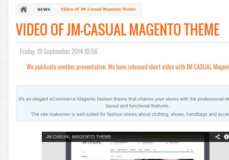 Check our new video of JM Casual #Magento #Theme. http://cmsgadget.com/news/video-of-jm-casual-magento-theme