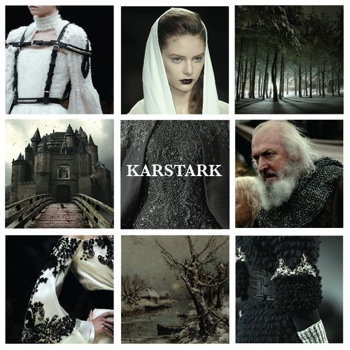House Karstark, lords of Karhold, their words are /The Sun of Winter/. The Karstarks are descendants of the First Men, their founder was Karlon Stark, who put down a rebel lord and was granted lands for his valor. The castle he built was named Karl's Hold, but that soon became Karhold, and over the centuries the Karhold Starks became Karstarks. Karhold lies far to the northeast of Winterfell in the midst of a forest beyond the Last River, overlooking the Shivering Sea.