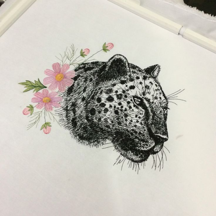 Leopard and cosmos flowers by stitchdelight.net