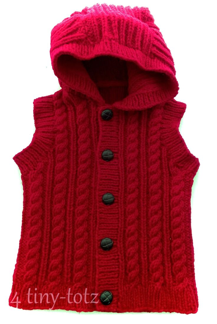 "Baby Boys Red Aran Hooded Gilet approx 1-2 years 22""chest by 4tinytotz on Etsy"