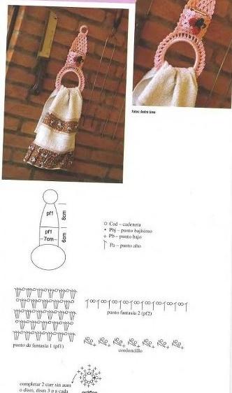 Een gehaakte handdoek ring.