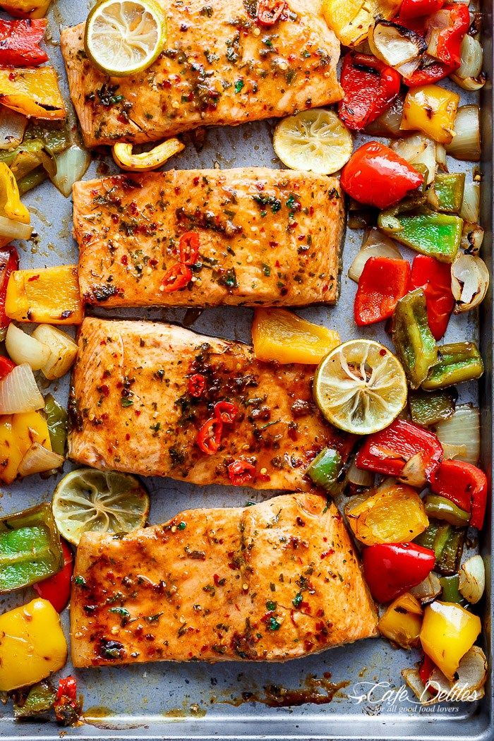 Sheet Pan Chili Lime Salmon with Fajita flavours, and a charred, crispy roasted trio of peppers for an easy and healthy weeknight meal! | http://cafedelites.stfi.re