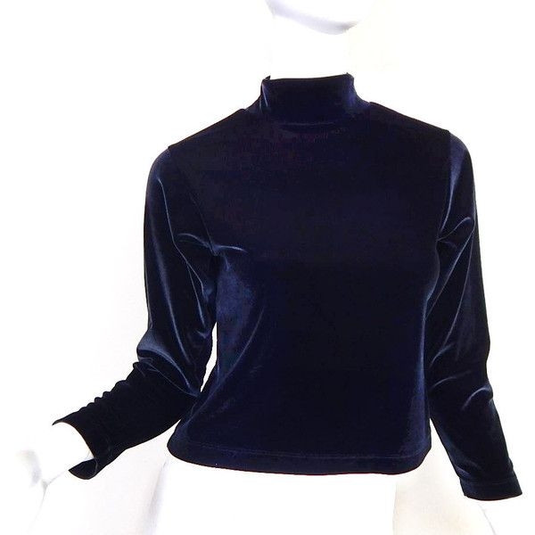 Vintage 90s Black Velvet Mock Turtleneck Crop Top Medium Women's Lands... ❤ liked on Polyvore featuring tops, long sleeve turtleneck, vintage tops, turtleneck top, crop tops and velvet long sleeve top
