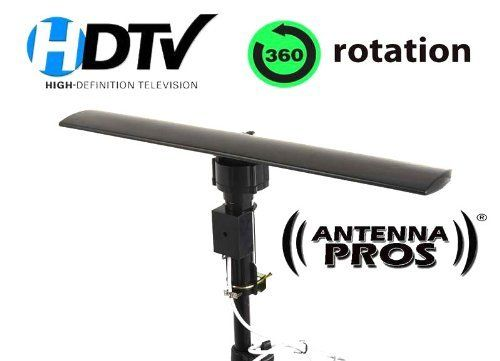 Antenna Pros Spectrum2 DTV Motorized Outdoor Indoor TV Antenna SP2 by Antenna Pros. $69.95. The Antenna Pros Spectrum2 is one of the most advanced indoor outdoor digital TV antennas in the market today. It uses SMT circuit designed especially for digital HDTV reception. The low profile design will make this an ideal antenna for people who want to get the best reception but also not have a big ugly antenna on their roof. The Spectrum2 also has a remote controlled 360 degree rotati...