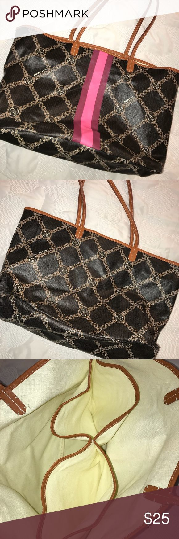 Large Brown Designer Style Tote Bag by Avon Great condition! Nice and big, perfect for travel or the gym! Has middle divider woh 2 pouches. Leather straps. Pink stripe on one side. Only flaw is a small pen mark seen in photo. Similar style design to Louis Vuitton, Gucci, etc Avon Bags Totes