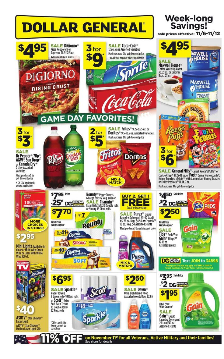 Dollar General Weekly Ad November 6 - 12, 2016 - http://www.olcatalog.com/grocery/dollar-general-weekly-ad.html