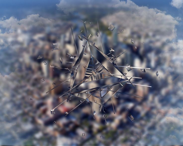 #spydrones: A near-invisible, carbon fibre and glass spy drone cruises over a city. The floating particles around the drone are kept precisely in place by self-generating gravity.
