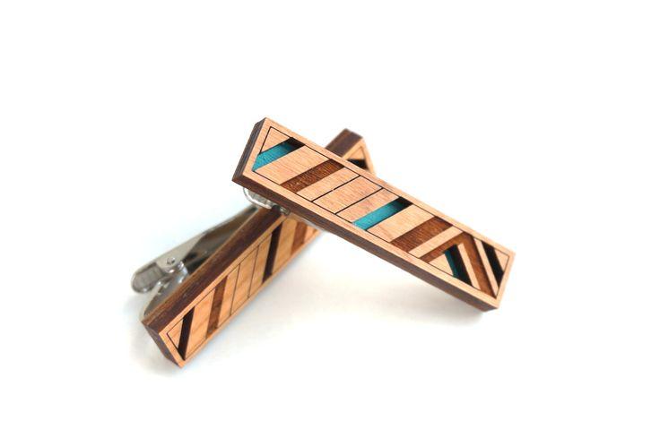 Striped Tie Clip Wooden Layered Tie Bar Modern Geometric