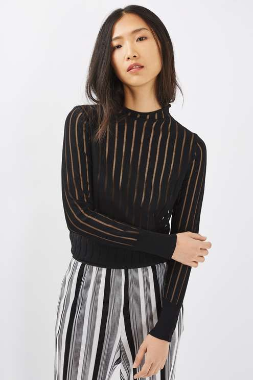 Revamp your basics in this cool fine gauge funnel neck knitted jumper with sheer stripe detailing throughout. Style with anything from printed trousers to high-waisted mini skirts. #Topshop