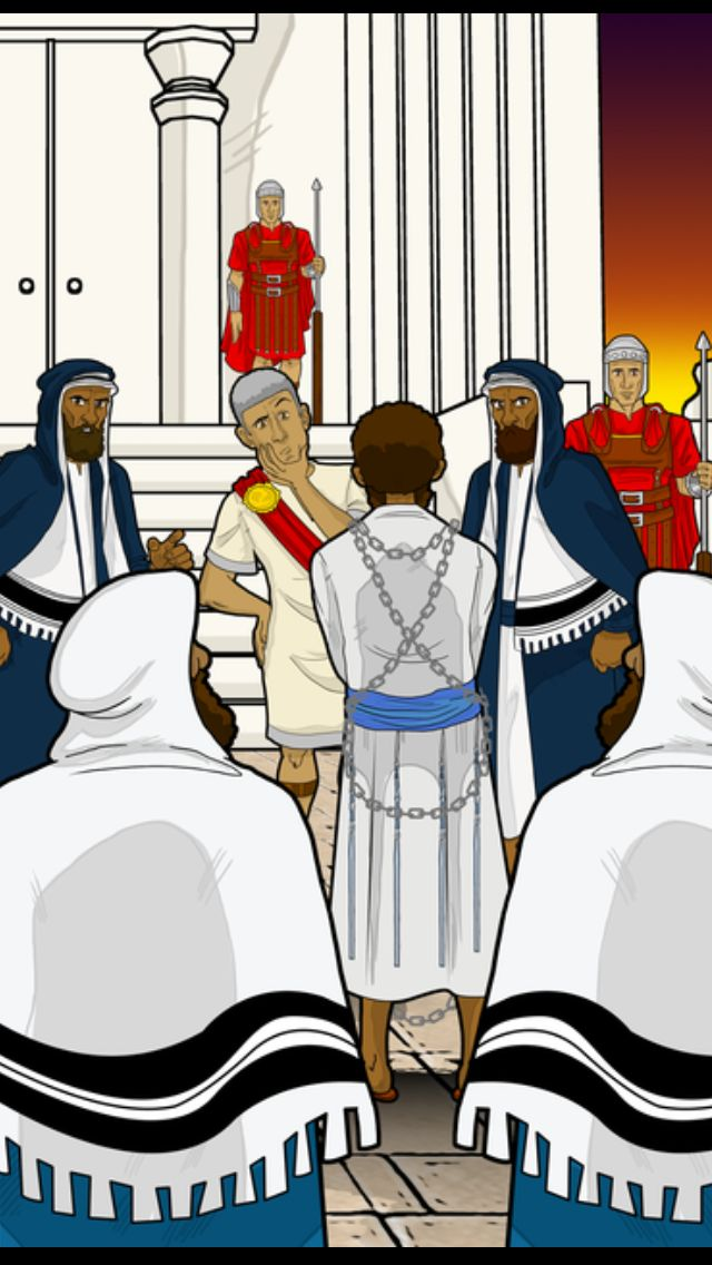 """Yeshua before Pilate. """"When morning came, all the chief priests and the elders of the people took counsel against Yeshua to put him to death. And they bound him and led him away and delivered him over to Pilate the governor."""" (Mat 27)"""