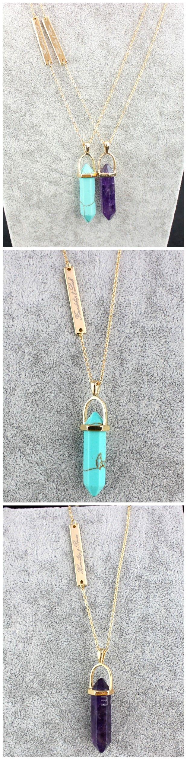 €5.99 Collier Pierre Losange Violet Bleu Pâle Avec Chaîne Bijoux Accessoires - NeeJolie.fr