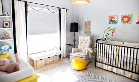 Quarto de bebê cinza e preto com cômoda amarela | Quarto de bebê - Decoração, bebês, gravidez e festa infantil