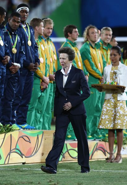 #RIO2016 Princess Anne Princess Royal looks on during the medal ceremony for the Men's Rugby Sevens on Day 6 of the Rio 2016 Olympics at Deodoro Stadium on...