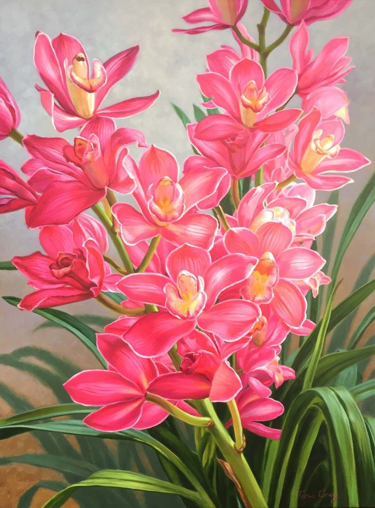 """Orchid Fever - Pink Cymbidiums"" 106cm x 76cm. For more information please contact REDSEA Gallery on (07) 3162 2230 © Fiona Craig"