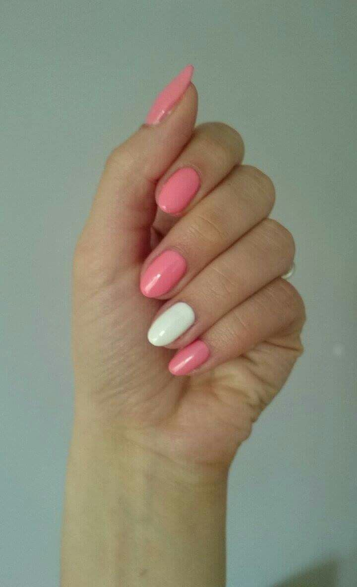 Semilac 102 pastel peach and 001 strong white. Simple spring nails
